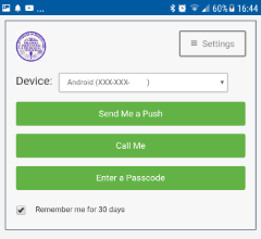 Duo MFA screen for requesting an authorized login.