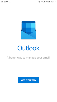 Outlook for android setup screen