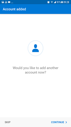 Would you like to add another account? Skip or continue.