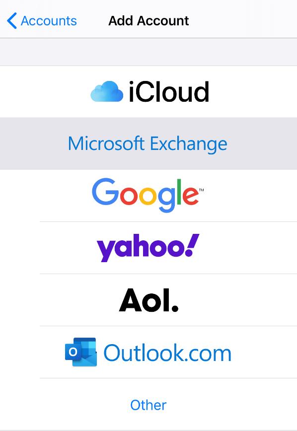 "iOS/iPhone Passwords & Accounts menu - Tap ""Microsoft Exchange"""