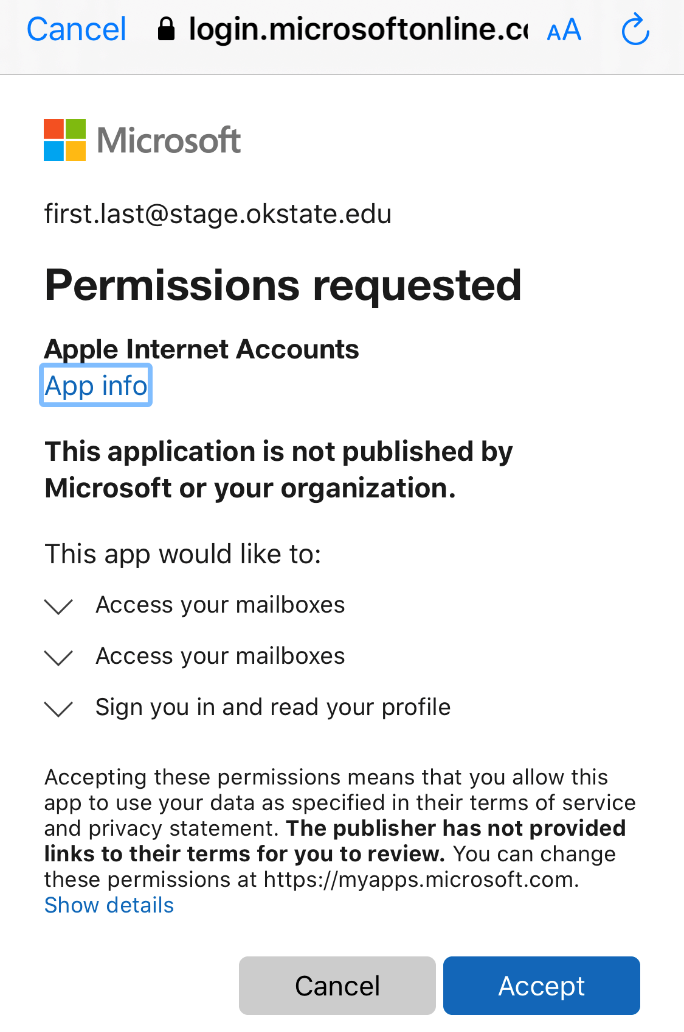 Accept permissions for iOS accounts