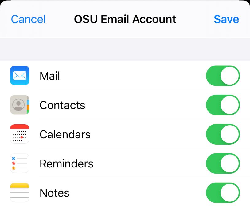 OSU Email Account Sync Settings
