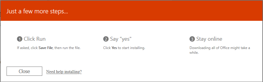 on-screen instructions to complete the installation of office 365
